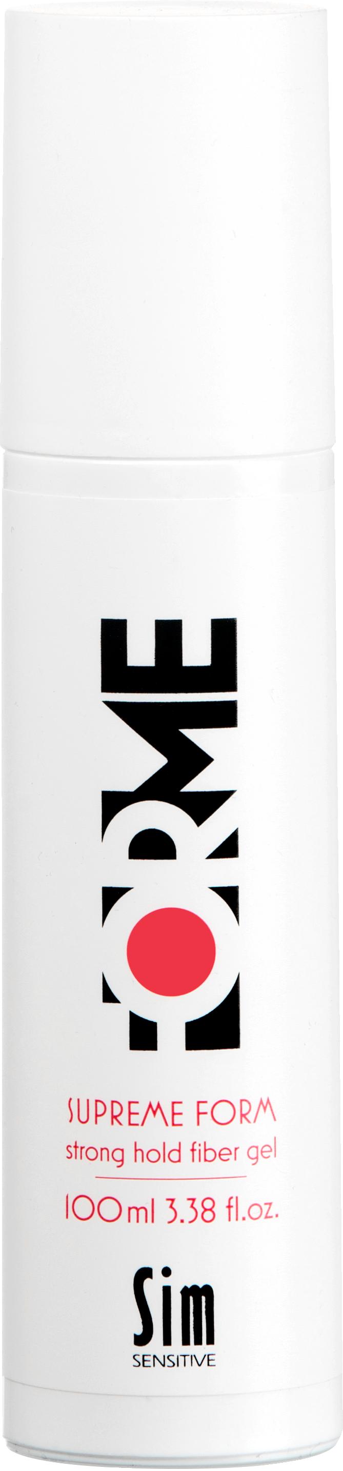 SIM SENSITIVE Гель волокнистый сильной фиксации для укладки волос / Supreme Form Strong Hold Fiber Gel FORME 100млГели<br>Гель для укладки волос Supreme Form сильной фиксации. Идеален для укладки сухих волос, так и для создания эффекта мокрых волос. Обеспечивает укладке желаемый объем, невероятный блеск и надежно фиксирует любую укладку. Содержит экстракт клюквы и УФ-фильтр, которые защищают волосы от вредных воздействий окружающей среды. Экстракт клюквы, благодаря большой концентрации витаминов и микроэлементов, питает, ухаживает и защищает волосы. Фиксация: 5. Объем: 3. Блеск: 5. Активные ингредиенты: экстракт клюквы, УФ-фильтр. Состав: aqua, VP/VA copolymer, butyleneglycol, polysorbate 2O, polyquoternium-ll, acrylates/CIO-3O alkil acrylate crosspolymer, glycerin, vaccinium macrocarpon (cranberry) fruit extract, aminomethyl propanol, PEG-9OM, parfum, benzophenone-4, phenoxyethanol, ethylhexylglycerin. Способ применения: разотрите небольшое количество геля на ладони, разотрите в руках и нанесите на волосы. Уложите волосы в прическу.<br>