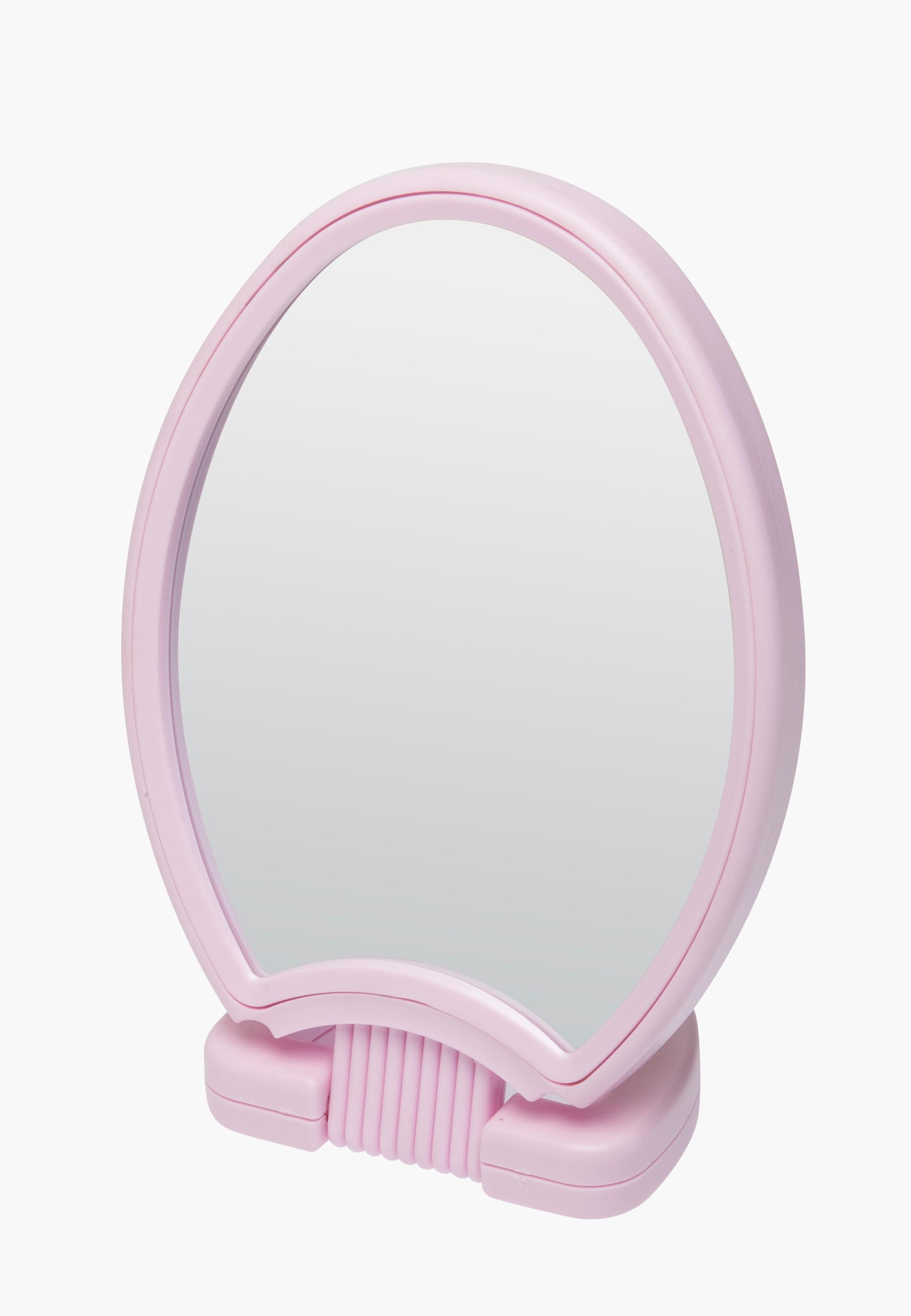 DEWAL BEAUTY Зеркало настольное, в розовой оправе, на пластиковой подставке 26x14,5 см