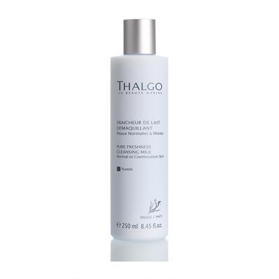 THALGO Молочко освежающее Чистота для нормальной и комбинированной кожи 250млМолочко<br>Освежающее молочко эффективно очищает и нежно заботится о нормальной и комбинированной коже. Оно бережно удаляет загрязнения и макияж с лица и шеи. Кожа становится чистой, увлажненной и бархатной.  Активные ингредиенты: Вода, глицерин, растительное масло, масло дерева Ши (Butyrospermum Parkii), экстракт водоросли Gelidium Sesquipedale, экстракт грейпфрута (Citrus Grandis). Не содержит парабенов, минеральных масел, пропиленгликоля, ГМО и побочных продуктов животного происхождения.  Способ применения: Для ежедневного использования. Нанести молочко на лицо массажными движениями, остаток молочка удалить с помощью ватных дисков или бумажной салфетки.<br>