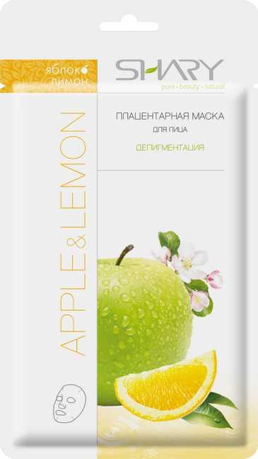 SHARY Маска плацентарная для лица Яблоко и лимон / SHARYМаски<br>Плацентарная маска для лица выравнивает тон кожи, осветляя ее и наполняя жизненной энергией. Улучшает текстуру и восстанавливает защитные функции. В результате кожа приобретает свежий, здоровый и ухоженный вид. Масло лимона осветляет кожу лица, нормализует секрецию жировых желез, способствует очищению и сужению пор. Экстракт яблока повышает иммунитет кожи, обладает питательным, витаминизирующим, смягчающим и освежающим действием. Экстракт плаценты усиливает синтез коллагена и эластина, активизирует клеточное дыхание, предупреждает появление пигментных пятен. Пчелиное маточное молочко стимулирует межклеточный обмен, омолаживает и тонизирует кожу. Активные ингредиенты: Яблоко. Экстракт яблока замедляет процессы старения, стимулирует процессы регенерации, улучшает цвет кожи, укрепляет стенки сосудов кожи. Лимон. Экстракт лимона стимулирует кожу, обладает антипигментационным, антисептическим и детокс эффектом. Экстракт плаценты овцы стимулирует восстановительные процессы, возвращая молодость коже. Состав: Water, Lemon Oil, Allantoin, Betaine, Royal Jelly, Dipotassium Glycyrrhizate, Hyaluronic Acid, Collagen, Angelica Dahurica, Glycerin, Glycol, Lactic Acid, Propylene Glycol, Theobroma Cacao (Cocoa) Extract, Fragaria Vesca (Strawberry) Fruit Extract, Tocopherol (Natural Vitamin E), Cucumis Sativa Fruit Extract (Cucumber, Organic), Spinacia Oleracea Leaf Extract (Spinach, Organic), Propionaldehyde, Pyrus Malus (Apple) Extract, Linalool, Prunus Amygdalus Dulcis Fruit Extract (Sweet Almond), Brassica Oleracea Italica Extract (Broccoli, Organic), Citronellol, Hexyl Cinnamaldehyde, D Limonene, Parfum. Способ применения: тщательно очистите и высушите кожу лица. Извлеките маску из упаковки и наложите на лицо, аккуратно расправив ее контуры для более плотного прилегания к коже. Через 15 минут снимите маску и ополосните лицо водой. Наилучшие результаты Вы ощутите, используя маску ежедневно в течение 10 дней. В дальн