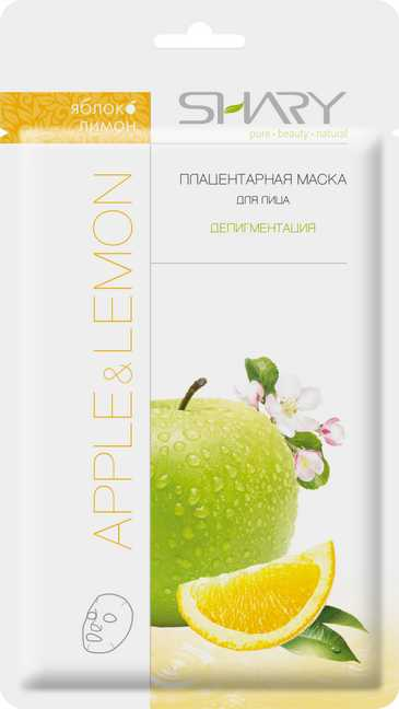 SHARY Маска плацентарная для лица Яблоко и лимон / SHARY