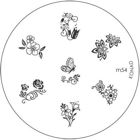 KONAD Форма печатная (диск с рисунками) / image plate M54 10гр декор для маникюра konad печатная форма диск image plate m102