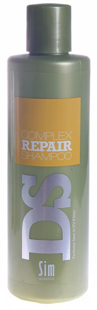 SIM SENSITIVE Шампунь для восстановления волос Рипеир Комплекс / Complex Repair Shampoo DS 250млШампуни<br>Шампунь &amp;laquo;Рипеир&amp;raquo; входит в состав  Рипеир  комплекса DS by Sim Sensitive. Шампунь не только эффективно очищает кожу головы и волосы, но и оказывает питающее и защитное действие за счет таких ингредиентов как аргановое масло, протеины пшеницы и гидролизованный белок. Кроме того, шампунь снабжен УФ-фильтром, защищающим волосы от ультрафиолета. Шампунь не содержит сульфаты, парабены и ароматизаторы. Активные ингредиенты: Вода, дисодиум лоурет сульфосукцинат, моющее средство на основе кокосового масла, глицерин, аргановое масло, производные гидролизованного белка пшеницы, гидролизованный растительный белок, УФ фильтр. Способ применения: Нанесите на влажные волосы, вспеньте и смойте.<br><br>Вид средства для волос: Восстанавливающий<br>Типы волос: Для всех типов