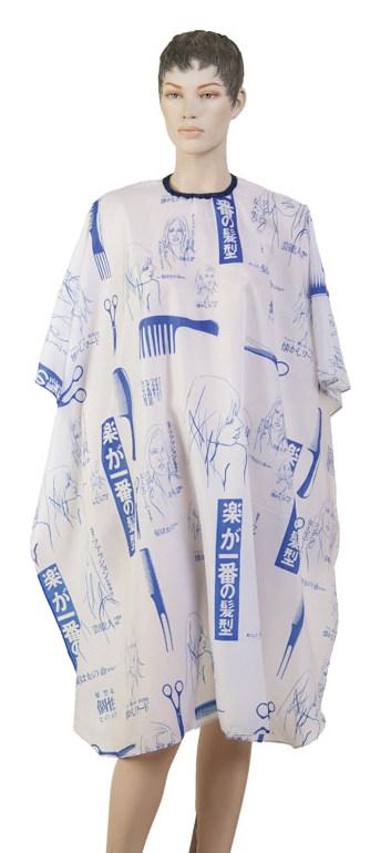 DEWAL PROFESSIONAL Пеньюар для стрижки Ножницы, полиэстер, на крючках, синий 115х146 см