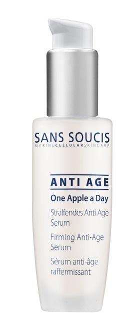 SANS SOUCIS Сыворотка антивозрастная укрепляющая подтягивающая / One Apple a Day Firming Anti-Age Serum 30млСыворотки<br>Антивозрастная сыворотка, содержащая эксклюзивный морской клеточный комплекс, стволовые клетки яблок, термальную воду из источников Баден-Бадена. Регулирует обменные процессы в коже, поддерживает активность собственных стволовых клеток кожи, улучшает тургор кожи. Результат: упругая кожа. Активные ингредиенты: бифида фермент лизат, экстракт культуры плодов яблони домашней, экстракт планктона, глицин сои, гиалуронат натрия, экстракт стволовых клеток арганы, пальмитоил тетрапептид -7, пальмитоил трипептид -1 Способ применения: как самостоятельное средство утром и вечером на очищенную кожу лица и области глаз или под крем, маску.<br><br>Объем: 30 мл