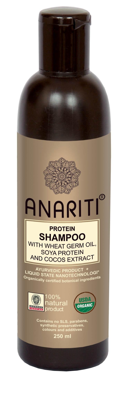 ANARITI Шампунь протеиновый с маслом зародышей пшеницы, протеинами сои и экстрактом кокоса 250млШампуни<br>Рекомендуется для ухода за безжизненными и поврежденными волосами, в том числе волосами с секущимися концами. Бережно очищает волосы и кожу головы, питает и восстанавливает их гидролипидный баланс. Микро-протеины пшеницы проникают вглубь сердцевины волоса, питая волосяные стержни. Протеины сои и молока обеспечивают регенерацию кортекса и кутикулы. Шампунь придает волосам мягкость, объем, здоровый блеск и эластичность.Так же идеально подходит за ухода за жесткими и не послушными волосами. Активные ингредиенты: экстракт алое вера, экстракт плодов сапиндуса (мыльных орешков), экстракт акации шикакай (мыльные бобы), кокос, дериватив глицина сои, экстракт амлы, экстракт дикого шафрана (сафлора), дериватив сахарного тростника, молочный протеин, экстракт гуара, масло зародышей пшеницы, экстракт белой эклипты, вода, краситель и отдушка   соя и зародыши пшеницы, консервант   масло чайного дерева. Способ применения:&amp;nbsp;нанести небольшое количество шампуня на влажную кожу головы и волосы. Равномерно распределить по всей поверхности массажными движениями. Смыть большим количеством воды. При необходимости процедуру повторить.<br><br>Объем: 250 мл<br>Назначение: Секущиеся кончики