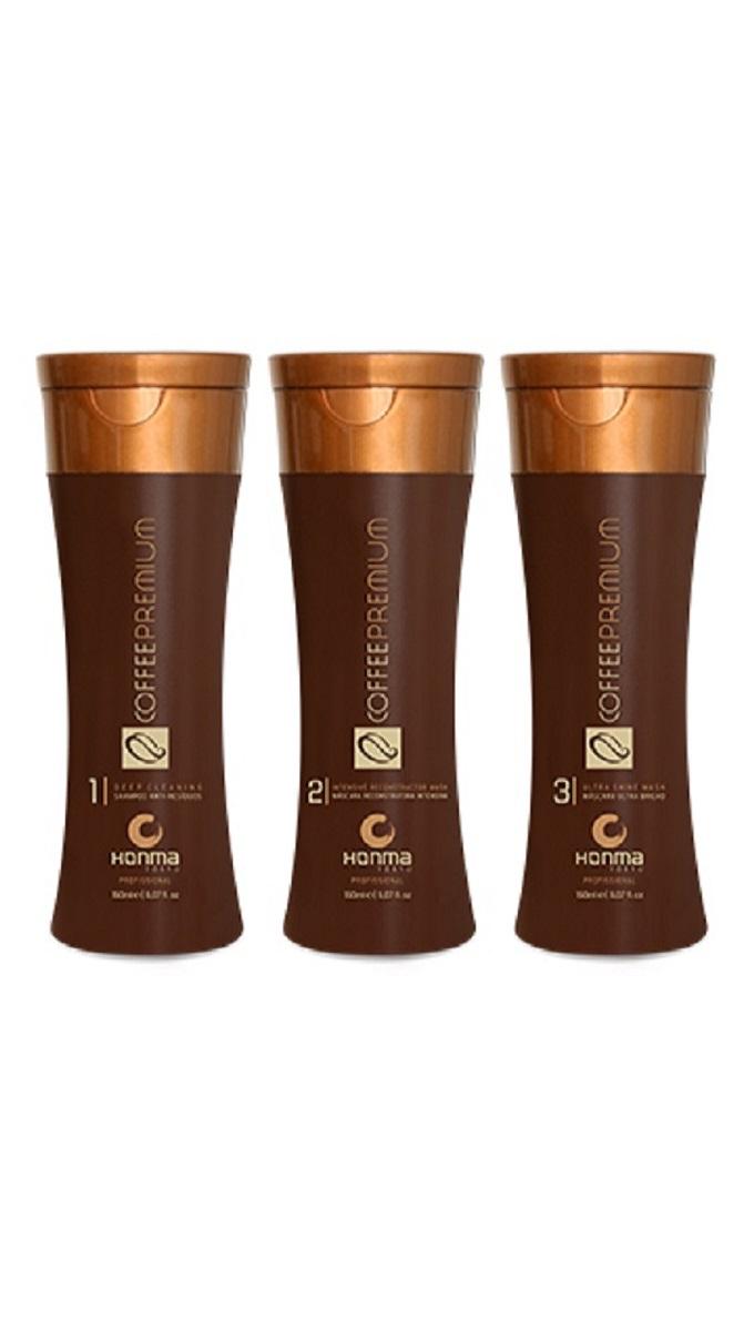 HONMA TOKYO Набор для кератинового выпрямления жестких волос (шампунь 150 мл, кератин 150 мл, маска 150 мл) Coffee Premium All Liss - Наборы