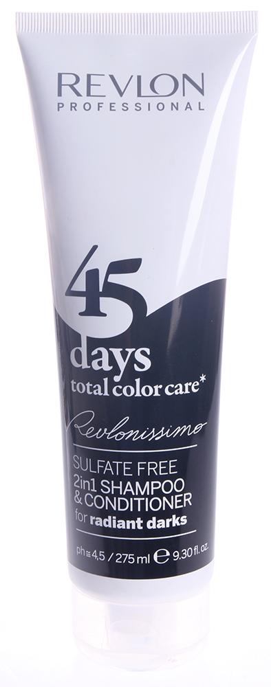 REVLON Шампунь-кондиционер тонирующий для темных оттенков / REVLONISSIMO COLOR CARE 275млКондиционеры<br>Шампунь-кондиционер с очень нежной и мягкой текстурой, не содержащий сульфатов и гарантирующий полное сохранение цвета волос темных оттенков на целых 45 дней. Благодаря провитамину В5 и поликвартениуму-55 придает волосам потрясающую эластичность, отличный блеск и защищает от вредных воздействий ультрафиолетовых лучей. Экстракт клюквы, который является сильным природным антиоксидантом, обеспечивает восстановление структуры волос, благоприятное влияет на кожу головы и устраняет воздействие свободных радикалов. Великолепное средство очищения волос, ухода за ними и поддержания интенсивности цвета волос до следующей процедуры окрашивания. Подходит для ежедневного применения. Активные ингредиенты: поликвартениум-55 - пленкообразующий полимер, экстракт клюквы - мощный природный антиоксидант, провитамин В5. Способ применения: нанести на влажные волосы, помассировать до образования пены, после чего тщательно смыть теплой водой.<br><br>Тип: шампунь-кондиционер<br>Вид средства для волос: Тонирующий<br>Типы волос: Окрашенные