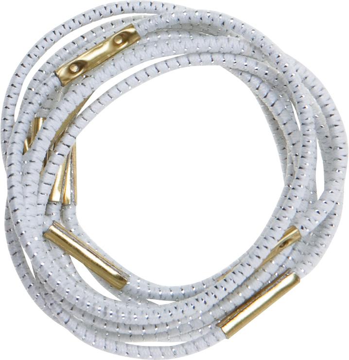 DEWAL PROFESSIONAL Резинки для волос белые с серебристой нитью midi 10 шт/уп