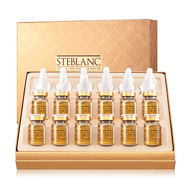 STEBLANC Сыворотка Золотое совершенство / GOLD PERFECTION 12*7грСыворотки<br>Шоковая терапия для зрелой кожи. Эффективная формула детокс элитной антивозрастной ампулы восстановит золотое сияние Вашей кожи! Высококонцентрированная программа   интенсивный курс 12 недель. Выводит накопленные в коже тяжелые металлы (никель, кадмий, мышьяк и т.д.), которые являются одной из причин старения кожи. После устранения факторов старения активизируется регенерация клеток. Недостаточная клеточная активность клеток кожи приводит к нездоровому виду лица. Ионы 24-каратного золота выстраиваются определенным способом, тем самым выступают в качестве проводника активных элементов ампулы, равномерно доставляя незаменимые компоненты по всей поверхности нанесения. Эффективно структурирует и регенерирует кожный покров, заметно возрождает возрастную кожу, а также отлично борется с нарушенным кровообращением. Выводит токсины. Ускоряет кровообращение. Борется с возрастными изменениями. Anti-age эффект. Улучшает цвет лица и структуру кожи. Усиливает естественную эластичность кожи. Помогает естественным клеточным функциям сохранения влаги. Оживляет и повышает эластичность кожи. Двойное назначение   выравнивает тон и рельеф кожи. Активные ингредиенты: 24K чистое золото, ежевика, клюква, экстракт дерева какао, мед, дисахарид, гиалуроновая кислота, биосахариды, аминокислоты, коллаген, икра, витамин В5, типептид меди, экстракт коптиса, экстракт цветов, листьев ромашки, клетчатка. Не содержит искусственных красителей и парабенов. &amp;nbsp; Способ применения: равномерно нанести на лицо и дать впитаться. Использовать после нанесения тонера. Чтобы открыть, слегка потяните крышку в направлении стрелки, затем замените ее конусообразным колпачком. Чтобы использовать - нажмите на переднюю часть колпачка.<br><br>Вид средства для лица: Антивозрастной