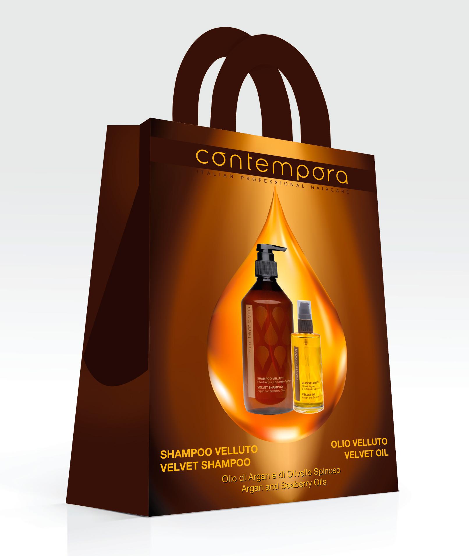 BAREX Набор для волос Сияющий бархат (шампунь разглаживающий 500 мл + масло разглаживающее 75 мл) / Contempora