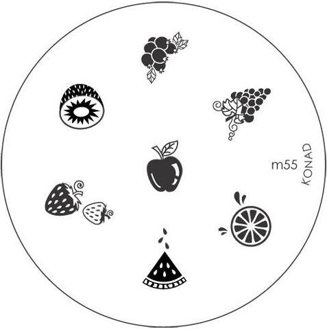 KONAD Форма печатная (диск с рисунками) / image plate M55 10грСтемпинг<br>Диск для стемпинга Конад М55 с сочными фруктами. Яблоко, апельсин, виноград, киви и клубника. Несколько видов изображений, с помощью которых вы сможете создать великолепные рисунки на ногтях, которые очень сложно создать вручную. Активные ингредиенты: сталь. Способ применения: нанесите специальный лак&amp;nbsp;на рисунок, снимите излишки скрайпером, перенесите рисунок сначала на штампик, а затем на ноготь и Ваш дизайн готов! Не переставайте удивлять себя и близких красотой и оригинальностью своего маникюра!<br>