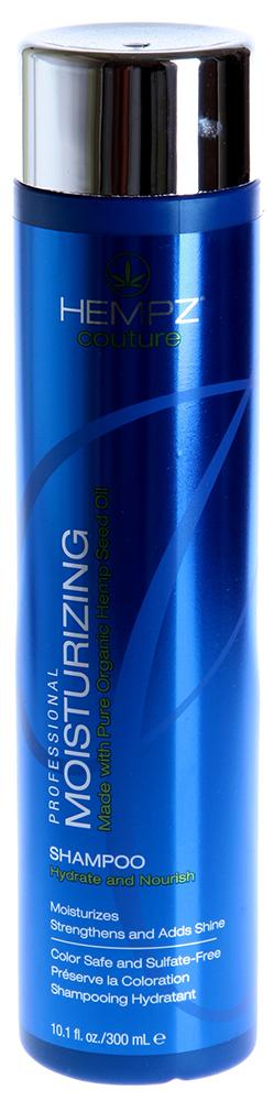 HEMPZ Шампунь увлажняющий / Moisturizing Shampoo 300млШампуни<br>Экономичный обогащенный шампунь для ежедневного применения. Особо рекомендуется для осветлённых, перманентных, пересушенных и ломких волос. Длительное увлажнение по всей длине оживляет волосы, делая их шелковистыми и послушными. УФ-защита. Уникальная формула интенсивно восстанавливает гидро-липидный баланс кожи головы, насыщает влагой сухие кончики волос и смягчает волосы. Активные ингредиенты: Деионизированная вода, масло и экстракт семян конопли, масло кунжута, экстракты крапивы, настурции, арники, шалфея и розмарина производная гуаровой смолы, гидролизированные протеины пшеницы и сои, циклометикон, цитрусовая кислота, диметиконол, пантенол, амодиметикон, глицерин.  Способ применения: нанести шампунь на влажные волосы массирующими движениями, распределяя по всей длине волос. Затем тщательно смыть водой. Ежедневное применение в течение двух недель гарантирует заметное улучшение здоровья и состояния волос.<br><br>Объем: 300<br>Вид средства для волос: Увлажняющий