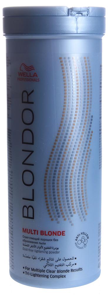 WELLA Порошок для блондирования / Blondor 400гПудры<br>Tri-Lightening технология содержит антижелтые молекулы для получения чистого результата блондирования. До 7 уровней осветления. Tri-Lightening технология с антижелтыми молекулами для получения чистого результата блондирования. Осветление до 7 ступеней. Многоцелевое применение и различные пропорции смешивания. Рекомендации по смешиванию: Смешивайте с Welloxon Perfect 6%, 9% или 12% или с эмульсией Color Touch 1.9% или 4% в неметаллической емкости. Пропорция смешивания от 1:1,5 до 1:2 (не 1:1) При контакте состава с кожей головы, используйте Welloxon 6% как максимально возможный процент перекиси. Нанесение и время выдержки: Нанесите осветляющую массу на немытые волосы. Время воздействия зависит от состояния волос. Проверяйте результат каждые 5-10 мин. Максимальное время воздействия 50 минут. При первичном окрашивании наносите осветляющую массу от середины длины и на концы, потом на корни. Последующий уход: Смойте блондирующую массу теплой водой и вымойте волосы шампунем. Нанесите стабилизатор цвета и блеска BLONDOR BLONDE SEAL &amp;amp; CARЕ.<br><br>Тип: порошок<br>Цвет: Блонд<br>Объем: 400<br>Вид средства для волос: Осветляющая