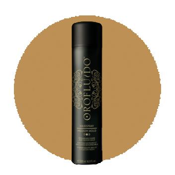 OROFLUIDO Лак для волос средней фиксации / OROFLUIDO MEDIUM HAIRSPRAY 500млЛаки<br>Лак для волос Orofluido Hairspray - замечательное сияние и средняя фиксация с восхитительным ароматом. Формула обогащена активными ингредиентами с эффектом текстурирования которые улучшают эластичность волос. Лак для волос с Аргановым, Льняным и маслом Циперуса для дополнительного блеска Ваших волос. Великолепный аромат Orofluido. Для всех типов волос. Способ применения: распылите круговыми движениями по сухим волосам на расстоянии 20-30 сантиметров.<br><br>Объем: 500 мл