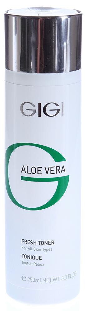 GIGI Лосьон-тоник освежающий / Fresh Toner ALOE VERA 250млТоники<br>Успокаивающий противовоспалительный лосьон для лица. Действие: Увлажняет и смягчает кожу, придает ощущение свежести. Снимает раздражение и напряжение кожи. Активные ингредиенты: Алоэ Вера, экстракт водорослей, экстракт полыни пустынной, масло мирры. Способ применения: Протереть лицо ватным диском, смоченным в лосьоне Алоэ Вера.<br><br>Тип: Лосьон-тоник(в заглавии)<br>Объем: 250<br>Возраст применения: После 25
