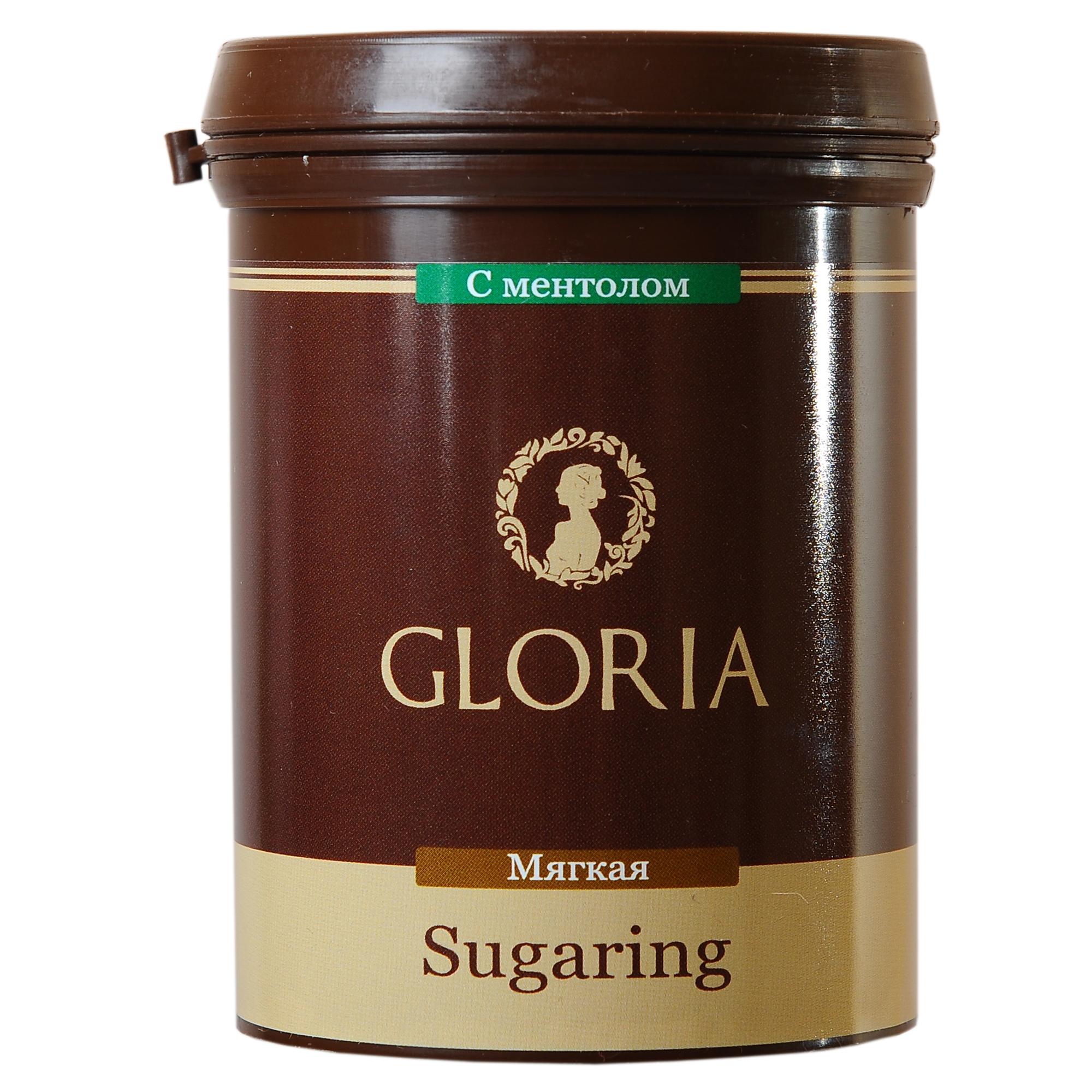 GLORIA Паста для шугаринга Gloria ультра мягкая с ментолом 0,33 кгСахарные пасты<br>Ультра-мягкая паста для шугаринга Gloria (глория) с ментолом - это одна из самых мягких сахарных паст в линейке Gloria. Подходит для работы шпателем и бандажной техникой. Отлично удаляет пушковые и умеренно жесткие волоски. Обеспечивает высокую скорость работы мастера. Отлично подходит для эпиляции в домашних условиях. Активные ингредиенты: вода, глюкоза, фруктоза, лимонный сок. Способ применения:&amp;nbsp;на предварительно очищенную и обезжиренную кожу нанести небольшое количество пасты в направлении, противоположном направлению роста волос. Резким движением оторвать пасту вместе с нежелательными волосками, второй рукой натягивая кожу в противоположную сторону. По окончании процедуры остатки пасты удалить влажной салфеткой. Количество процедур: 10-12<br><br>Объем: 0.33 кг<br>Консистенция: Мягкая