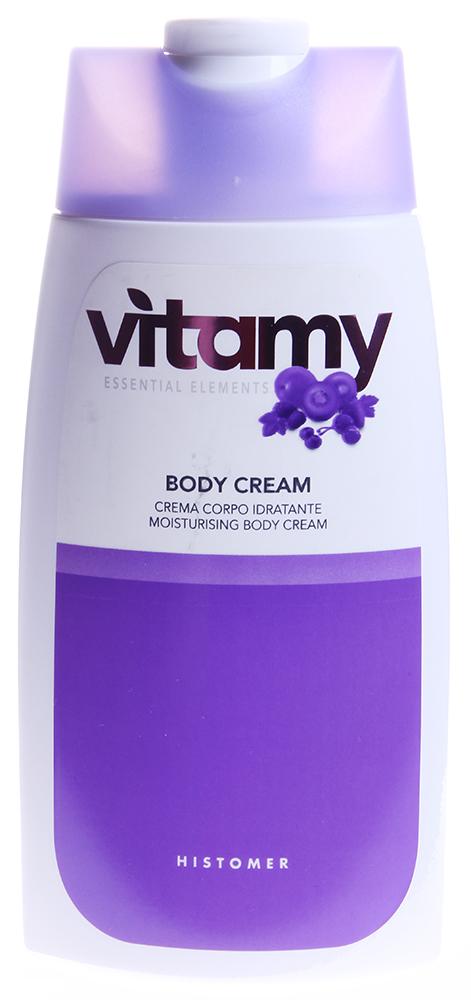 HISTOMER Крем увлажняющий для тела / VITAMY TREATMENT 250млКремы<br>Ароматизированный крем для тела после ванны глубоко питает и увлажняет кожу. Оставляет коже ощущение необычайной шелковистости.  Активные ингредиенты: Линия Vitamy основана на уникальной формуле Кальций Альфа и комплексе витаминов (А, Е, С, В1, В2, В3, В5, В6, F, Н), которые ревитализируют кожные ткани и стенки сосудов, восстанавливают процессы метаболизма. Фруктовые экстракты ежевики и черники и фруктовые кислоты обеспечивают эффективную регенерацию и лифтинг тканей, улучшают текстуру кожи.  Способ применения: Легкими круговыми массирующими движениями нанести крем на сухую и чистую кожу тела после ванны или душа, массировать несколько минут до полного впитывания.<br><br>Объем: 250<br>Вид средства для тела: Увлажняющий
