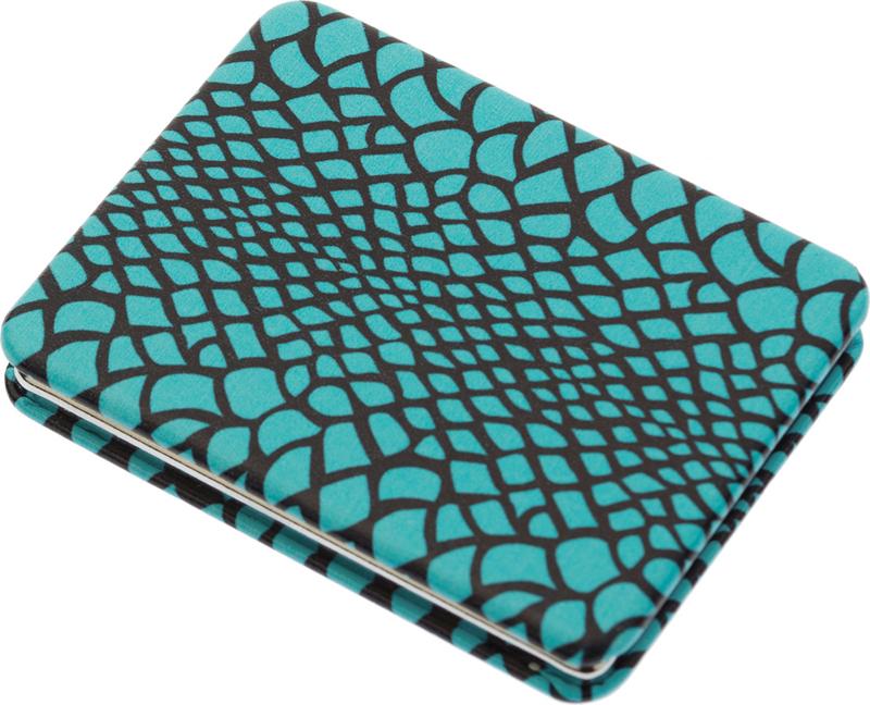 DEWAL BEAUTY Зеркало Дикая природа карманное, прямоугольное, голубая рептилия 5,5х1x7 см