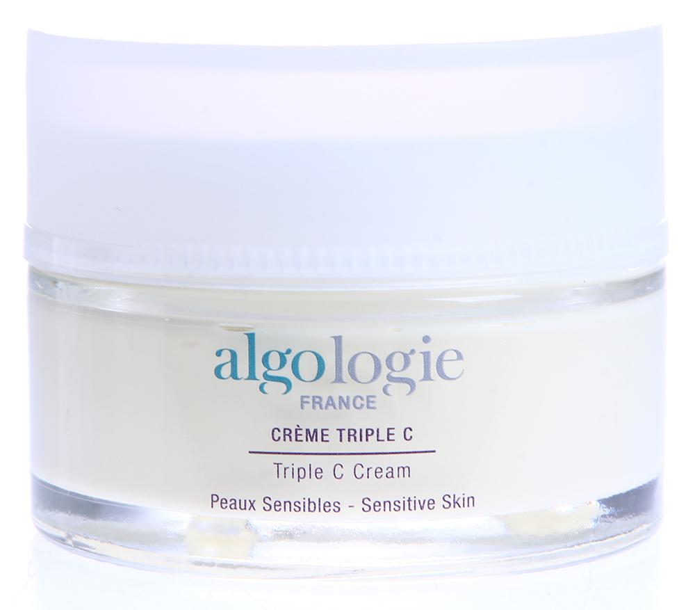 ALGOLOGIE Крем Тройное С 50млКремы<br>Замечательный препарат для сухой, раздраженной, чувствительной кожи, склонной к образованию купероза. Имеет густую консистенцию и приятный запах. Крем тает на коже, насыщает ее влагой и питательными компонентами. Создает на коже барьер от вредных факторов окружающей среды. Делает кожу мягкой и нежной. Улучшает микроциркуляцию крови. Ликвидирует следы усталости и стресса.  Активные ингредиенты: Масло бабассу, антикуперозный комплекс, экстракт розы гибискус, экстракт календулы, экстракт фукуса, аллантоин, диоксид титана.  Способ применения: Применяйте крем Тройное С Cr&amp;egrave;me Triple C от Algologie ежедневно утром или вечером. Наносите небольшое количество крема на очищенную кожу лица, шеи и декольте.<br><br>Объем: 50<br>Типы кожи: Чувствительная