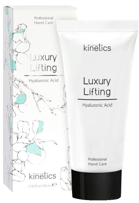 KINETICS Крем-лифтинг для рук Премиум / Professional Hand Care Cream Luxury Lifting 100 млКремы<br>Высокоактивный лифтинг-крем разглаживает морщины и кожа выглядит значительно моложе. Формула с высокой концентрацией активных ингредиентов прекрасно восстанавливает уставшую кожу, делает ее эластичной и обеспечивает сияющее свечение.&amp;nbsp;Luxury Lifting приносит видимое улучшение кожи всего через несколько минут после нанесения. Идеальный крем для&amp;nbsp;моментального преображения&amp;nbsp;Ваших рук. Активные ингредиенты: гиалуроновая кислота Высокоактивный ингредиент для лифтинга, заполнения и устранения морщин, делает кожу мягче и моложе. Масло Ши Обеспечивает 24-х часовое увлажнение и защиту от вредных факторов окружающей среды, гарантирует коже упругий и сияющий вид. Без парабенов. Без нефтепродуктов. Способ применения:&amp;nbsp;подходит для ежедневного использования.<br><br>Объем: 100 мл<br>Типы кожи: Уставшая<br>Назначение: Морщины