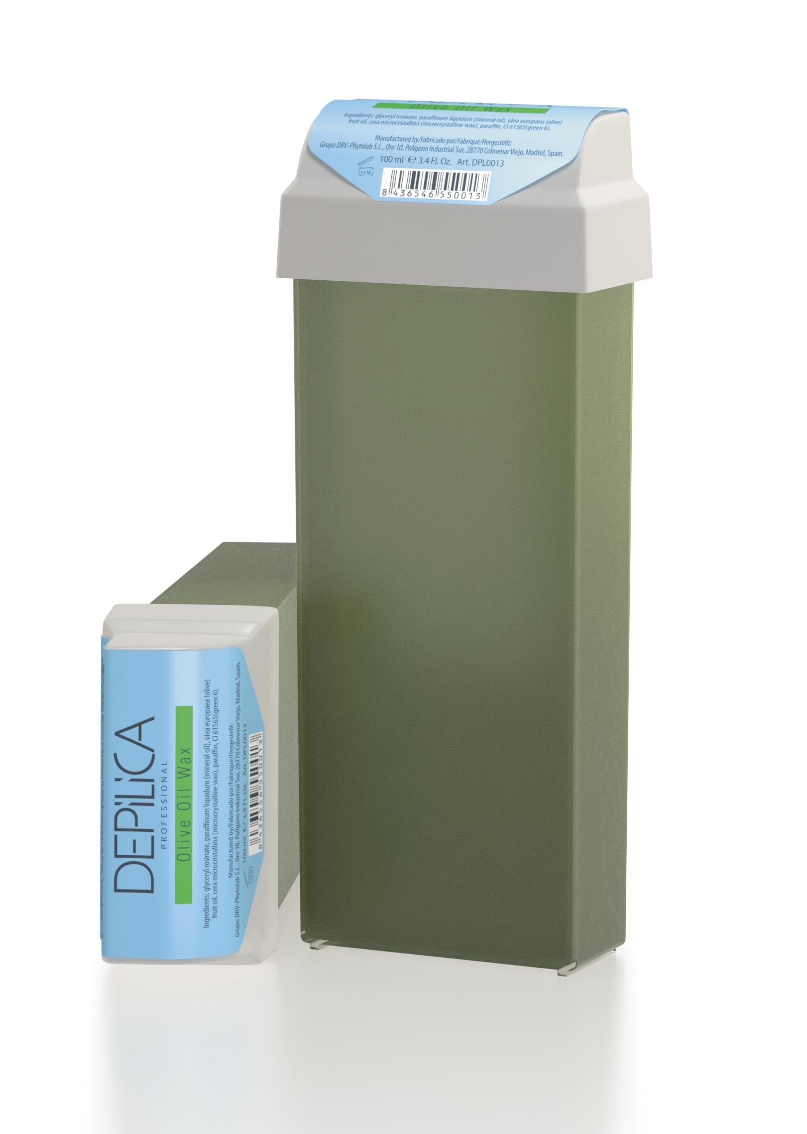 DEPILICA PROFESSIONAL Воск теплый с маслом Оливы / Olive Oil Warm Wax 100млВоски<br>Содержит очищенное оливковое масло первого холодного отжима, сосновую смолу и комплекс растительных масел. Оказывает смягчающее и успокаивающее действие на кожу после эпиляции. Для всех типов волос. Универсальные картриджи воска подходят для всех стандартных нагревателей. Они оснащены роликом-аппликатором что очень удобно для быстрого и чистого нанесения.<br>