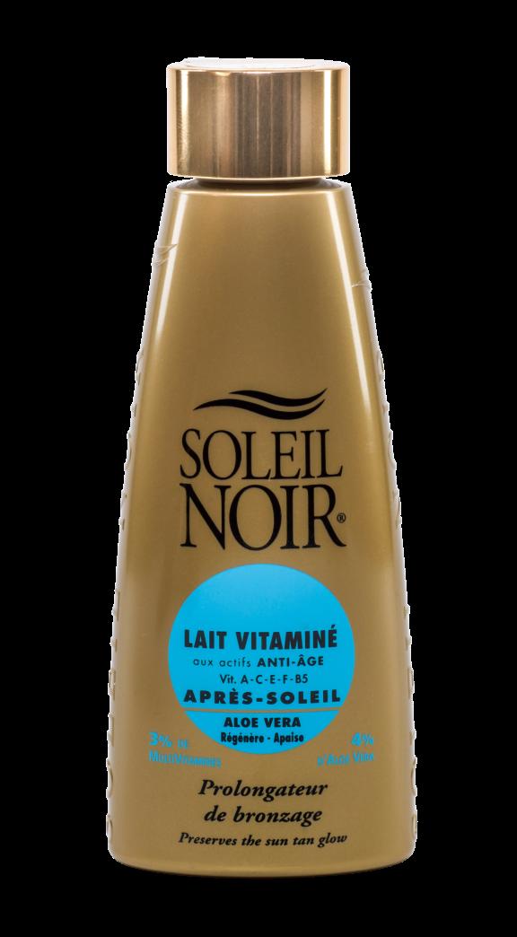 SOLEIL NOIR Молочко антивозрастное витамин. после солнца Продление загара SPF4 / LAIT VITAMINE 150млМолочко<br>Это универсальное средство, которое удивляет широким спектром применения. Благодаря богатому набору успокаивающих и увлажняющих компонентов лосьон обеспечивает уход за кожей после солнечных ванн, а также работает как восстанавливающее средство после бритья и эпиляции. Активные ингредиенты:   Алоэ вера и 4% аллантоина успокаивают и снимают раздражение   Комплекс витаминов А-С-E предотвращает образование свободных радикалов   Благородные масла бурачника, оливы и кокоса в сочетании с провитамином В5 и экстрактом алоэ вера питают, охлаждают и успокаивают кожу   Усиление и пролонгация загара благодаря DHA Способ применения: нанести после пребывания на солнце. Ежедневное использование предотвратит солнечные ожоги и пролонгирует загар.<br>
