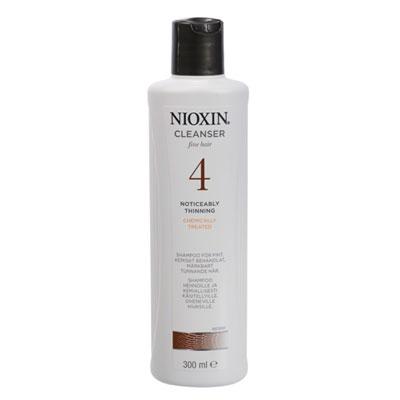 NIOXIN Шампунь очищающий д/химически обработанных, заметно редеющих волос (4) 1000млШампуни<br>Уникальный состав шампуня прекрасно подходит для ежедневного ухода за тонкими, химически обработанными (окрашенными), заметно редеющими волосами. Шампунь бережно очищает и ухаживает за волосами и кожей головы, защищает от вредного влияния окружающей среды, придает заметный объем. Способствует утолщению волоса, давая ощущение густоты и предотвращая повреждения и ломкость волос. Активные ингредиенты: BioAMP (биоусиление), Glyco-Shield (гликопротеиновая защита от потери яркости и интенсивности цвета окрашенных волос), Scalp Access Delivery System (система защиты кожи головы с УФ-фильтрами и доставкой питательных компонентов). Способ применения: нанести небольшое количество шампуня на влажные волосы и кожу головы мягкими массирующими движениями, вспеньте. Спустя минуту тщательно смойте водой.<br><br>Вид средства для волос: Очищающий<br>Назначение: Выпадение
