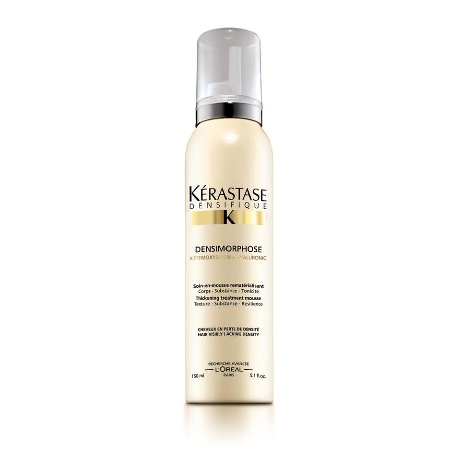 KERASTASE Мусс уплотняющий Денсиморфоз / DENSIFIQUE 150млМуссы<br>Мусс мгновенно преображает волосы и придает им заметный объем без утяжеления. Начиная от корней, волосы становятся более мягкими, шелковистыми и блестящими. Гиалуроновая кислота известна своими увлажняющими свойствами и является важным источником увлажнения кожи головы и волос. Gluco-Peptide (Глюко Пептиды) - питание волосяного фолликула и стимулирование его активности + Керамид защищает и восстанавливает волосы. Активные ингредиенты: гиалуроновая кислота, Gluco-Peptide (Глюко Пептиды), керамид. Способ применения: встряхнуть перед применением. Нанесите на вымытые и высушенные полотенцем волосы. Равномерно распределите по всей длине волос, приступайте к укладке. Не смывайте.<br>