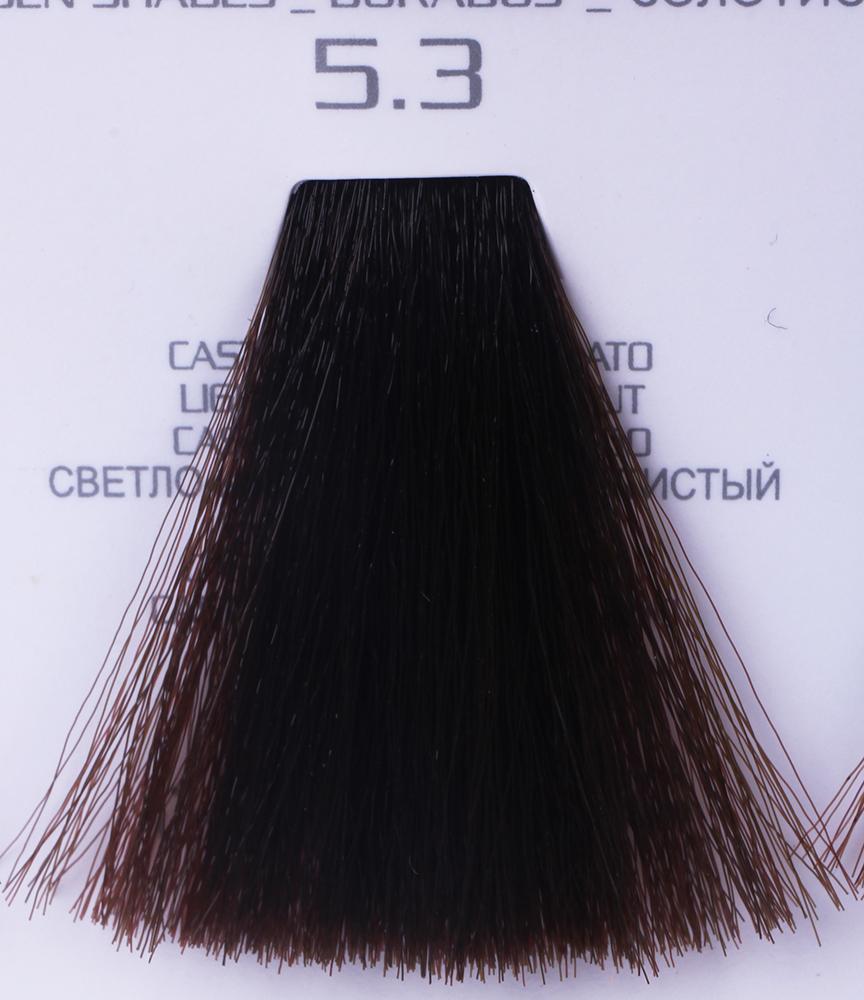 HAIR COMPANY 5.3 краска для волос / HAIR LIGHT CREMA COLORANTE 100млКраски<br>5.3 светло-каштановый золотистыйHair Light Crema Colorante   профессиональный перманентный краситель для волос, содержащий в своем составе натуральные ингредиенты и в особенности эксклюзивный мультивитаминный восстанавливающий комплекс. Минимальное количество аммиака позволяет максимально бережно относится к структуре волоса во время окрашивания. Содержит в себе растительные экстракты вытяжку из арахиса, лецитин, витамин А и Е, а так же витамин С который является природным консервантом цвета. Применение исключительно активных ингредиентов и пигментов высокого качества гарантируют получение однородного, насыщенного, интенсивного и искрящегося оттенка. Великолепно дает возможность на 100% закрасить даже стекловидную седину. Наличие 6-ти микстонов, а так же нейтрального бесцветного микстона, позволяет достигать получения цветов и оттенков. Способ применения: смешать Hair Light Crema Colorante с Hair Light Emulsione Ossidante в пропорции 1:1,5. Время воздействия 30-45 мин.<br><br>Вид средства для волос: Восстанавливающий<br>Класс косметики: Профессиональная