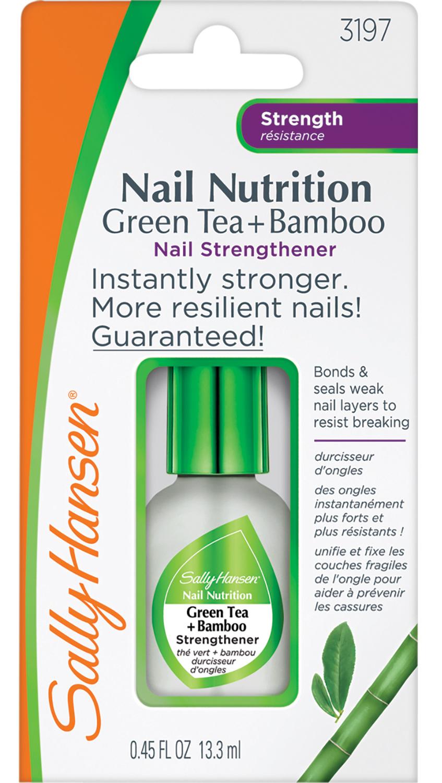 SALLY HANSEN Средство для укрепления слабых хрупких ногтей 2 в 1 (база и верхнее покрытие) / nail nutrition green tea + bamboo strengthene - Базовые покрытия