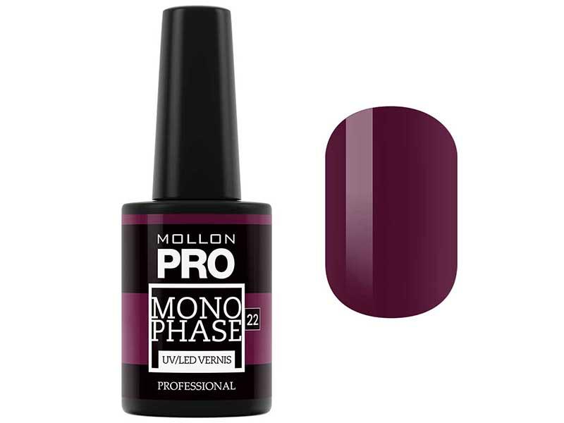 MOLLON PRO Лак для ногтей однофазный УФ/LED / Monophase Vernis   22 10млГель-лаки<br>Обеспечивает стойкое покрытие (7-10 дней) без использования базы и закрепителя. Предназначен для натуральной ногтевой пластины, а также для гелевых и акриловых ногтей. Дарит интенсивный цвет и натуральный вид при нанесении 2-х тонких слоев. Быстро сохнет в УФ или LED-лампе, не скалывается и не повреждается. Легко и быстро снимается без спиливания за 3 минуты. Свойства:   Консистенция классического лака для ногтей   Хорошая адгезия к ногтевой пластине   Стилизация с зеркальным блеском   Гладкие, натуальные и блестящие ногти   Устойчив к царапинам и стиранию   Быстро полемизируется в UV и LED лампах   Безопасный для ногтевой пластины   Не содержит вредных компонентов (формальдегид, толуол, дибутилфталата) - 3 Free   Темные цвета следует дольше полемизировать в лампе Способ нанесения:   Подпилите и придай ногтям форму. Удалите кутикулу препаратом Cuticle Remover Ultra Fast Gel при помощи деревянной палочки.   Деликатно сматируйте ногтевую пластину. Обезжирьте ногти препаратом Dehydrator   Нанесите тонкий слой лака для ногтей Monophase и полемизируйтe в лампе UV или LED, повторите нанесение и снова полемизируйте в лампе.   Время полемизации: Лампа UV (36Вт): первый слой 3 мин., второй слой 4 мин. Лампа LED (минимум 12 Вт): первый слой 1,5 мин., второй слой 3 мин. Лампы более высокой мощности сокращают время полемизации. Темные цвета полемизируются дольше Не смывать липкий слой после полимеризации. По окончанию нанесите 1 каплю Cucitle Oil на каждый ноготь и вмасируйте. Снятие:   Смочите ватный спонж в жидкости UV Remover, можете также использовать жидкость для снятия лака Nail Lacquer Remover hydrobalance   Оберните алюминиевой фольгой каждый ноготь и оставьте на 3 мин.   Деликатно удалите покрытие с помощью деревянной палочки.   Матирующей пилочкой Mollon PRO с градацией 320/500 деликатно сгладьте поверхность ногтя.   Протрите ноготь спонжем, смоченным в жидкости, чтобы удалить остатки