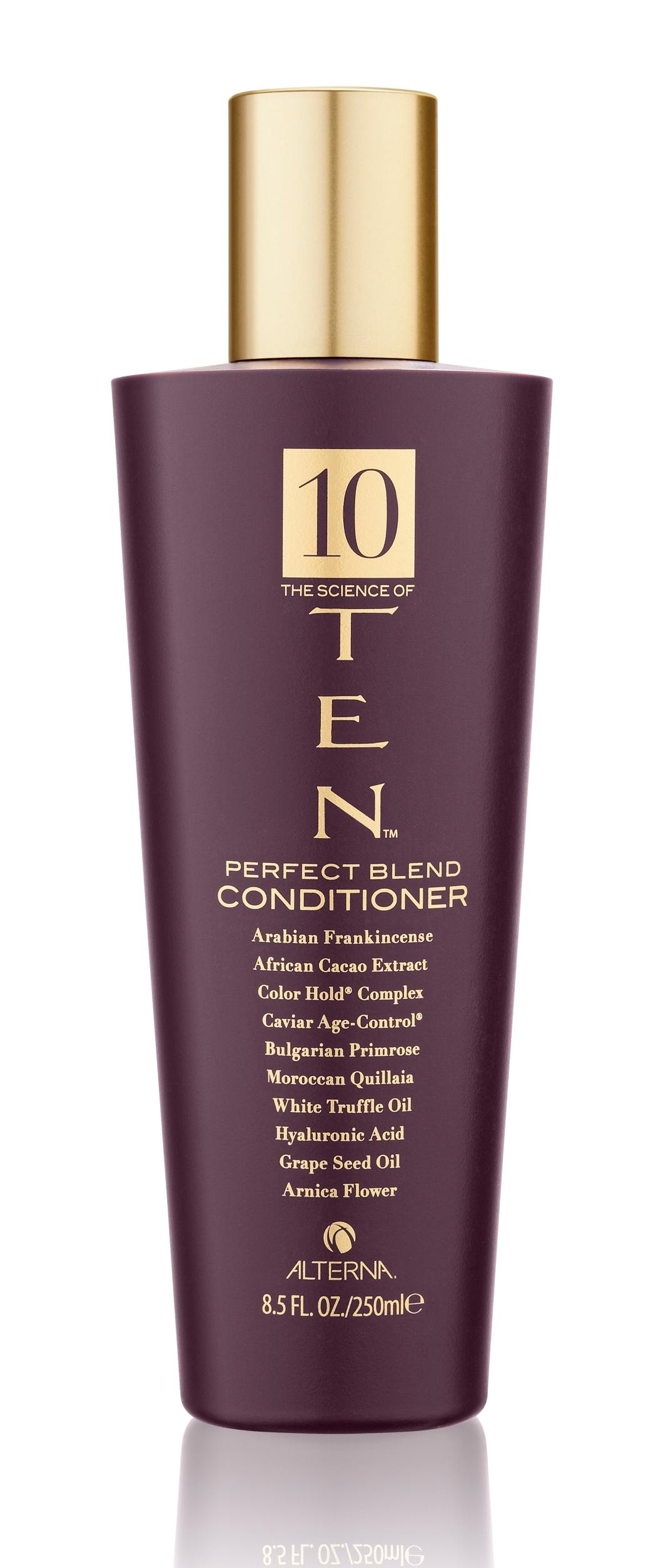 ALTERNA Кондиционер Совершенная формула / LUXURY TEN 250млКондиционеры<br>Высококонцентрированный кондиционер на основе комплекса The Science of TEN  обеспечивает идеальный ежедневный уход для волос всех типов. Доставляет и запечатывает в волосах все необходимые ингредиенты. Насыщенная текстура кондиционера питает и наполняет истощенные волосы влагой. Сохраняет яркость и сочность цвета, укрепляет волосы, облегчает расчесывание, придает волосам сияние и красоту. Активные ингредиенты: энзимотерапевтический комплекс , экстракт африканского какао, гиалуроновая кислота, Age-Control Complex   комплекс против старения волос , комплекс фиксации цвета , итальянский белый трюфель, масло косточек винограда из французской провинции Шампань, экстракт болгарской вечерней примулы, кора марокканского мыльного дерева, экстракт цветков арники, арабский ладан. Способ применения: при ежедневном использовании: нанесите шампунь The Science of TEN shampoo на влажные, вымытые волосы. Равномерно распределите кондиционер по всей длине волос, тщательно прорабатывая руками. Оставьте кондиционер на волосах для воздействия минимум на 2 3 минуты. Тщательно смойте водой. При использовании 1 2 раза в неделю: нанесите кондиционер аналогичным образом и оставьте для более эффективного воздействия на 15 20 минут с теплом (используйте климазон, вапоризатор). Остудите и тщательно смойте водой.<br>