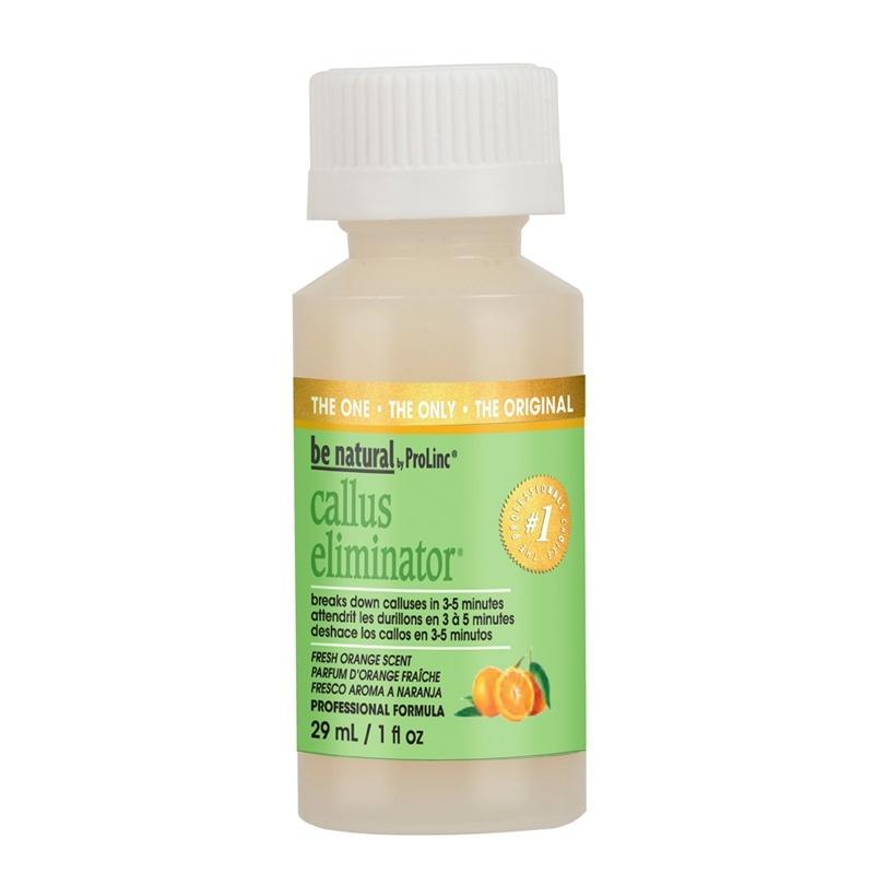 BE NATURAL Средство с запахом апельсина для удаления натоптышей / Callus Eliminator Orange 15грОсобые средства<br>Средство Callus Eliminator предназначено для европейского (необрезного) и комбинированного педикюра. Высокая концентрация препарата позволяет максимально быстро, за 3-5 минут, размягчить огрубевшую кожу и мозоли, после чего они легко удаляются пилкой. Callus Eliminator разработан под наблюдением врачей-дерматологов. Состав препарата воздействует только на ороговевший слой эпидермиса, не травмируя живые клетки и не высушивая их. Отсутствие кислот и агрессивных компонентов позволяет избежать травм и ожогов кожи и снижает риск от возможных ошибок при применении. Способ применения: размочить ороговевшие участки кожи водой и протереть досуха. Приложить тонкую бумажную салфетку на проблемную зону и нанести поверх препарат. Средство впитается через салфетку в кожу и начнет действовать. Обмотать ступню полиэтиленовой пленкой и оставить на 3-7 минут, в зависимости от толщины натоптыша. Стереть излишек продукта и, используя шлифующую пилку, удалить ороговевшие частицы и промыть водой. Внимание: при работе с препаратом не забудьте надеть перчатки.<br>