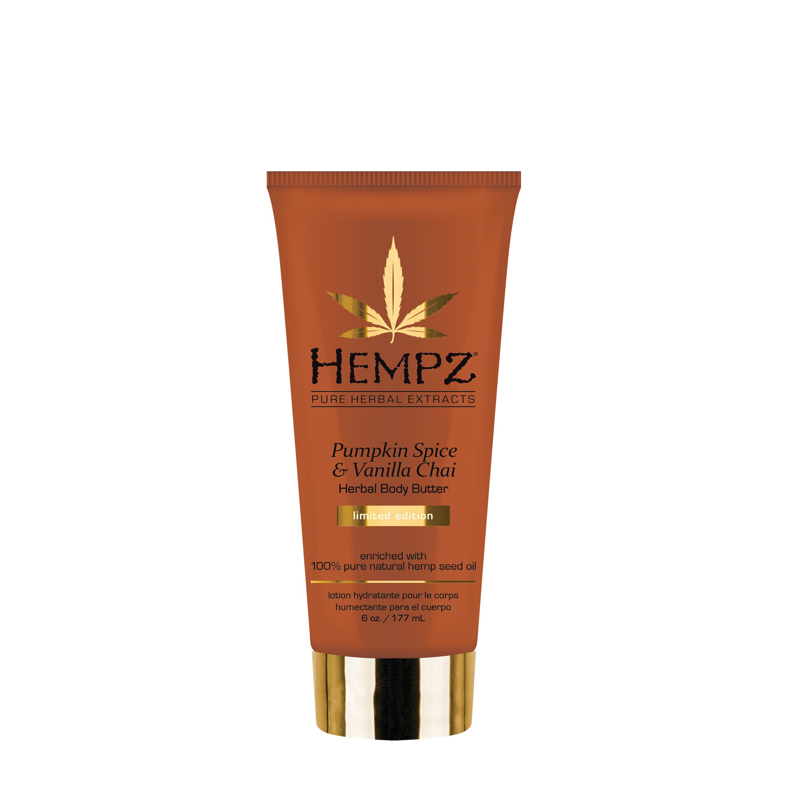 HEMPZ Крем питательный для тела тыква и ваниль / Pumpkin Spice and Vanilla Chai Herbal Body Butter 177 мл - Кремы