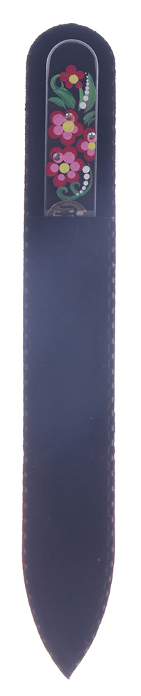 BOHEMIA PROFESSIONAL Пилочка стеклянная прозрачная с рисунком и кристаллами 135ммПилки для ногтей<br>Нет ничего лучше для натуральных ногтей, чем пилка из богемского хрусталя. Данный материал имеет практически неограниченный срок использования. Пилки Bohemia Professional имеют наиболее стойкий абразив. Пилка из богемского хрусталя также может стать стильным аксессуаром или красивым подарком. Bohemia Professional представляет Вам огромный выбор прозрачных и цветных пилок с декором: ручная роспись, декорация стразами, пилки с логотипом, и полноцветные изображения. Инструмент можно стерилизовать и обрабатывать химическими дезинфекторами, антисептиками.<br>