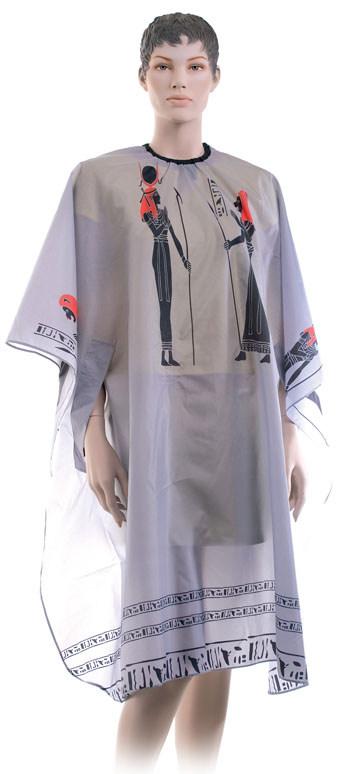 DEWAL PROFESSIONAL Пеньюар для стрижки Египет, нейлон, на крючках, с прорезями для рук, серый 124х146 см