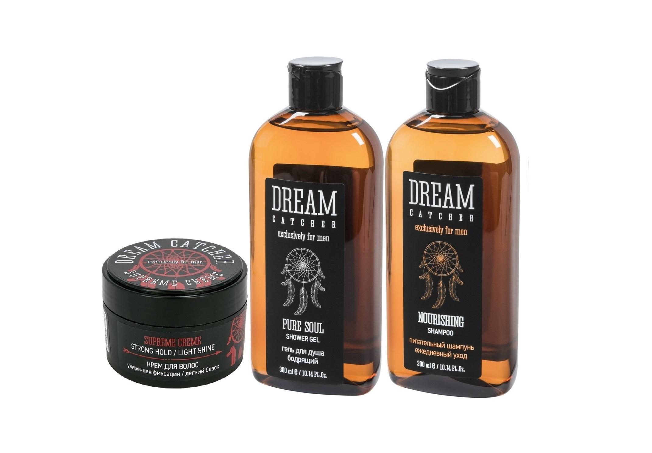 DREAM CATCHER Набор подарочный №2 для мужчин (питательный шампунь 300 мл, гель для душа 300 мл, крем для волос 100 г) DREAM CATCHER