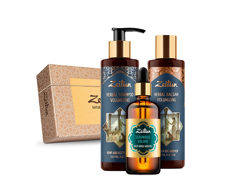 Купить ZEITUN Набор подарочный Роскошный объем волос (шампунь 200 мл, бальзам 200 мл, масло 100 мл)
