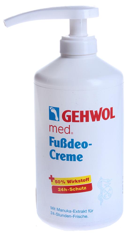 GEHWOL Крем-дезодорант (флакон с дозатором) 500млДезодоранты<br>Крем-дезодорант рекомендуется как средство для профилактики запаха пота и нормализации потоотделения людям с чувствительной кожей и для ухода за диабетической стопой. Активные ингредиенты: Крем содержит высокоэффективную комбинацию из масла мануки и оксида цинка для устранения сильного запаха пота, а также масло жожоба и алое-вера. Эти ингредиенты помогают эффективно противостоять грибковым инфекциям и бактериям (масло мануки и алое-вера), ухаживать за чувствительной кожей (оксид цинка), ускоряют процесс регенерации кожи, смягчают и увлажняют её. Оксид цинка также оказывает легкое подсушивающее воздействие на влажную от пота кожу, а алое вера и жожоба в этот же момент увлажняют и не дают чувствительной коже пересыхать и шелушиться.  Способ применения: Наносится утром и (или) вечером на чистую и сухую кожу.  Дозатор для флакона 450мл приобретается отдельно.<br><br>Тип: Крем-дезодорант<br>Объем: 450