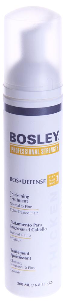 BOSLEY Уход увеличивающий густоту нормальных/тонких окрашенных волос / ВОS DEFENSE (step 3) 200млКонцентраты<br>Несмываемый уход.   Действие: Создает ощущение утолщения волос, помогая препятствовать воздействию ДГТ. Защищает и восстанавливает волосяные фолликулы и помогает поддерживать здоровое функционирование волос. Специальные ингредиенты продлевают срок яркости и насыщенности цвета окрашенных волос. Активные ингредиенты: LifeXtend&amp;trade; Комплекс. Экстракт водорослей. Color Keeper . Способ применения: Наносить ежедневно на кожу головы и волосы после применения Шампуня Питательного и Кондиционера Для Объема. Не смывать! Может вызвать временное покраснение кожи головы.<br>