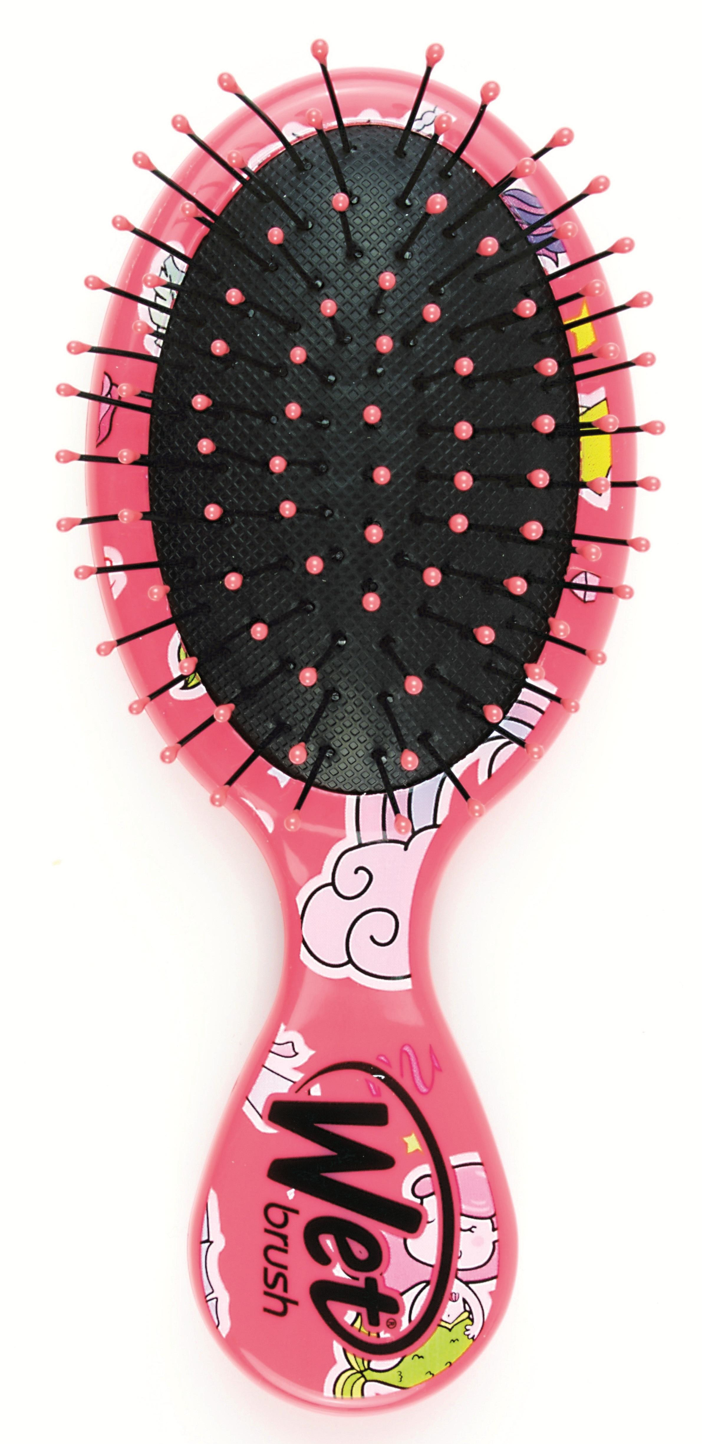 Wet Brush Щетка для спутанных волос мини размера, розовый единорог / WET BRUSH MINI HAPPY HAIR FANTASY - Щетки