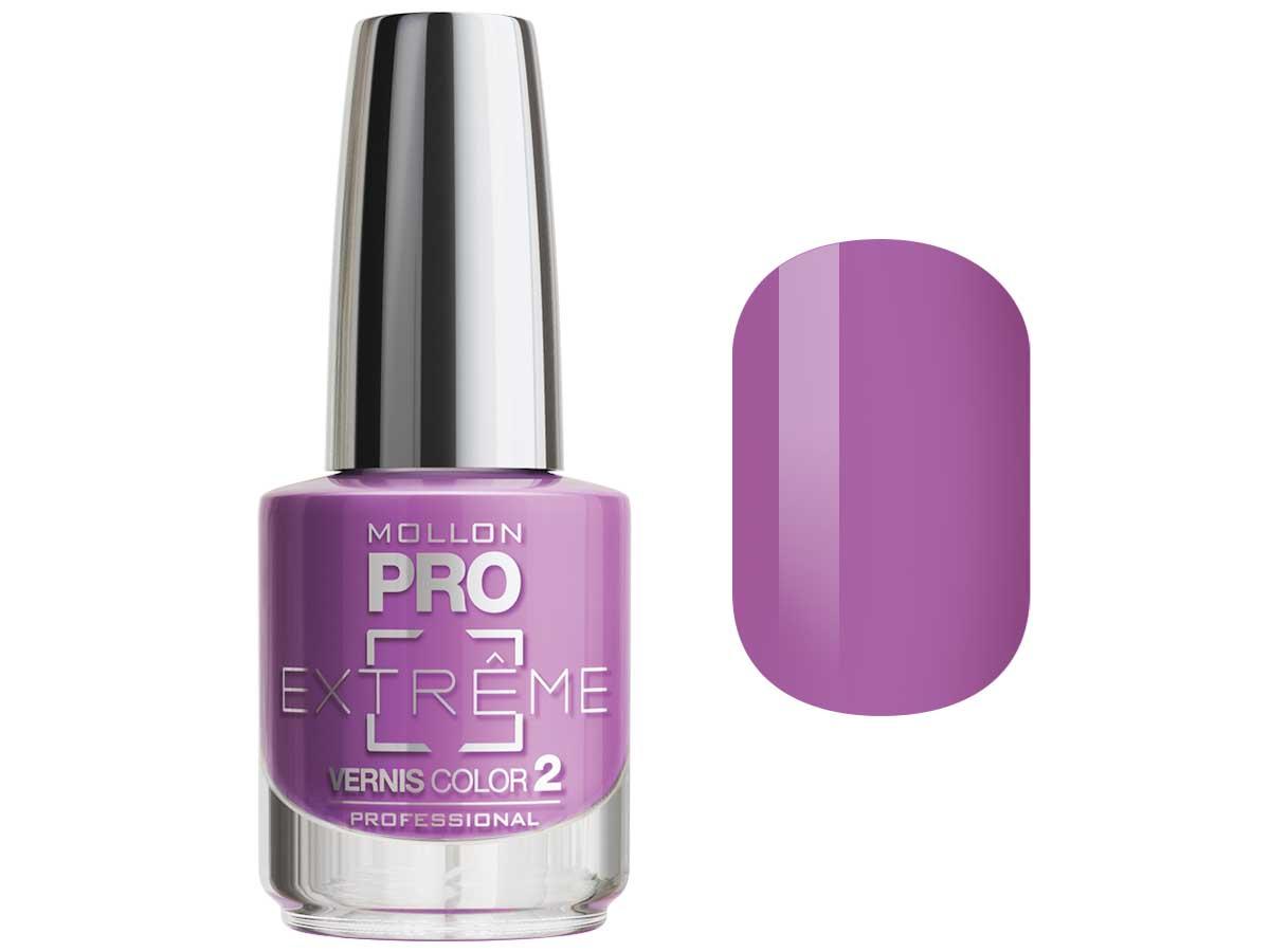 MOLLON PRO Покрытие для ногтей цветное / Extreme Vernis Color  10 10млЛаки<br>Mollon PRO EXTREME 3 STEPS VERNIS   это инновационная, трехфазная система для стилизации ногтей. Благодаря формуле, обогащенной полимерами, продукты высыхают при естественном освещении, что позволяет сохранить эффект супер блеска на ногтях до 10 дней. Продукты наносятся как классический лак для ногтей, смываются жидкостью для снятия лака с ацетоном без компресса. EXTREME VERNIS COLOR COAT 2 - основной цвет очень гибкий, быстро сохнет и дает интенсивный цвет уже после первого цветного слоя. Способ нанесения: - Сделайте маникюр и обезжирьте ногтевую пластину. - Нанесите базу Mollon PRO Extreme Base Smooth Coat -1, дайте просохнуть 1 минуту. - Нанесите два слоя цветного лака Mollon PRO Extreme -2, интервал между слоями 2 минуты. - Покройте сверху закрепителем Mollon PRO Extreme Gloss Top Coat -3. - Оставьте на 10 минут для высыхания. Для снятия покрытия используйте жидкость для снятия лака.<br><br>Цвет: Фиолетовые<br>Класс косметики: Профессиональная<br>Виды лака: Глянцевые