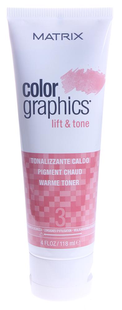 MATRIX Тонер Теплый / КОЛОР ГРАФИКС Лифт-энд-Тон 118млКраски<br>КолорГрафикс Лифт-энд-Тон - это высокоэффективная система, которая дает возможность осветлять и тонировать пряди за один шаг, ухаживая за волосами во время окрашивания. ColorGraphics Lift&amp;amp;Tone состоит из трех компонентов: ультрабыстрой осветляющей пудры, промоутера (6,6%/22V и 2.4%/8V) и тонера (Теплый, Нейтральный, Холодный и Экстра холодный). Разные по мощности промоутеры позволяют достичь максимальной гибкости и креативности в осветлении, а четыре тонирующих пигмента - нейтрализовать, смягчить или усилить желаемые оттенки. Особые компоненты в осветляющей пудре дают необходимую консистенцию при смешивании, делая продукт идеальным для работы в любой технике. Удивительная особенность продукта состоит не только в максимально быстром и мягком осветлении волос, но и в возможности не тонировать их после осветления. Необходимый пигмент содержится в Тонере - таким образом, вы сразу получаете легкий оттенок на осветленных волосах. Теплый тонер: подчеркивает теплый фон осветления; для клубничных блондинок. Нейтральный тонер: балансирует нейтральные тона; для натуральных прядей, эффект выгоревших на солнце волос. Холодный тонер: смягчает жёлтые нотки фона осветления; для холодного результата осветления. Экстра холодный тонер: смягчает оранжевые нотки фона осветления; для экстра холодного результата осветления. Выбирая теплые нюансы, вы сможете усилить природные теплые оттенки и получить мягкие медовые пряди, а выбор холодного тонера позволяет максимально нейтрализовать натуральный пигмент волос. Тонеры имеют приятный фруктовый аромат. Активные ингредиенты: кондиционирующий Про-Витамин В5, ухаживающий за волосами во время окрашивания. Способ применения: пропорции смешивания: осветляющая пудра 2 ложки, выберите промоутер 2 ложки (2,4% или 6,6%), выберите тонер 1 ложка (Экстра Холодный, Холодный, Нейтральный или Теплый). Время выдержки: 2-10 минут с теплом или до 50 минут при комнатной температуре. Периодич