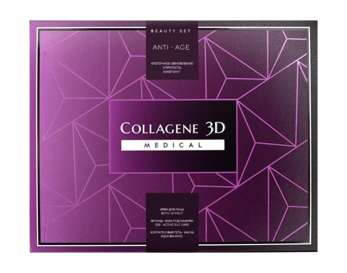 Купить MEDICAL COLLAGENE 3D Набор подарочный Anti Age для лица (гель-маска 30 мл, крем 30 мл, флюид 15 мл)