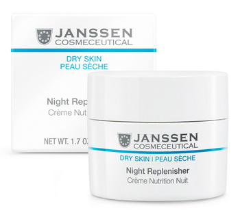 JANSSEN Крем питательный регенерирующий ночной / Night Replenisher DRY SKIN 50млКремы<br>Обогащенный ночной крем с мягкой текстурой. Защищает от свободных радикалов, обладает anti-age действием. Инновационные активные компоненты восстанавливают баланс липидов и восполняют резерв влаги в коже, возвращая ей упругость и эластичность. Защищает кожу от обезвоживания. Скорая помощь для кожи, подвергшейся инсоляции, стрессу, оперативному вмешательству. Активные ингредиенты: водоросли Codium tomentosum, сахариды, гиалуроновая кислота, экстракт корня императы, масло авокадо, протеины люпина, бисаболол, аллантоин, витамины С и Е. Способ применения: нанесите на чистую и тонизированную кожу лица, шеи и области декольте вечером и деликатно вмассируйте. В салоне применять согласно регламенту процедуры.<br><br>Вид средства для лица: Питательный<br>Время применения: Ночной