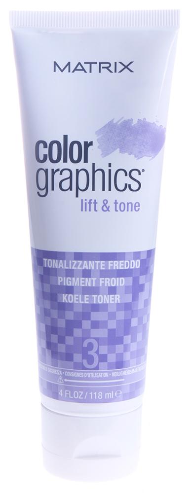 MATRIX Тонер Холодный / КОЛОР ГРАФИКС Лифт-энд-Тон 118млКраски<br>КолорГрафикс Лифт-энд-Тон - это высокоэффективная система, которая дает возможность осветлять и тонировать пряди за один шаг, ухаживая за волосами во время окрашивания. ColorGraphics Lift&amp;amp;Tone состоит из трех компонентов: ультрабыстрой осветляющей пудры, промоутера (6,6%/22V и 2.4%/8V) и тонера (Теплый, Нейтральный, Холодный и Экстра холодный). Разные по мощности промоутеры позволяют достичь максимальной гибкости и креативности в осветлении, а четыре тонирующих пигмента - нейтрализовать, смягчить или усилить желаемые оттенки. Особые компоненты в осветляющей пудре дают необходимую консистенцию при смешивании, делая продукт идеальным для работы в любой технике. Удивительная особенность продукта состоит не только в максимально быстром и мягком осветлении волос, но и в возможности не тонировать их после осветления. Необходимый пигмент содержится в Тонере - таким образом, вы сразу получаете легкий оттенок на осветленных волосах. Теплый тонер: подчеркивает теплый фон осветления; для клубничных блондинок. Нейтральный тонер: балансирует нейтральные тона; для натуральных прядей, эффект выгоревших на солнце волос. Холодный тонер: смягчает жёлтые нотки фона осветления; для холодного результата осветления. Экстра холодный тонер: смягчает оранжевые нотки фона осветления; для экстра холодного результата осветления. Выбирая теплые нюансы, вы сможете усилить природные теплые оттенки и получить мягкие медовые пряди, а выбор холодного тонера позволяет максимально нейтрализовать натуральный пигмент волос. Тонеры имеют приятный фруктовый аромат. Активные ингредиенты: кондиционирующий Про-Витамин В5, ухаживающий за волосами во время окрашивания. Способ применения: пропорции смешивания: осветляющая пудра 2 ложки, выберите промоутер 2 ложки (2,4% или 6,6%), выберите тонер 1 ложка (Экстра Холодный, Холодный, Нейтральный или Теплый). Время выдержки: 2-10 минут с теплом или до 50 минут при комнатной температуре. Период