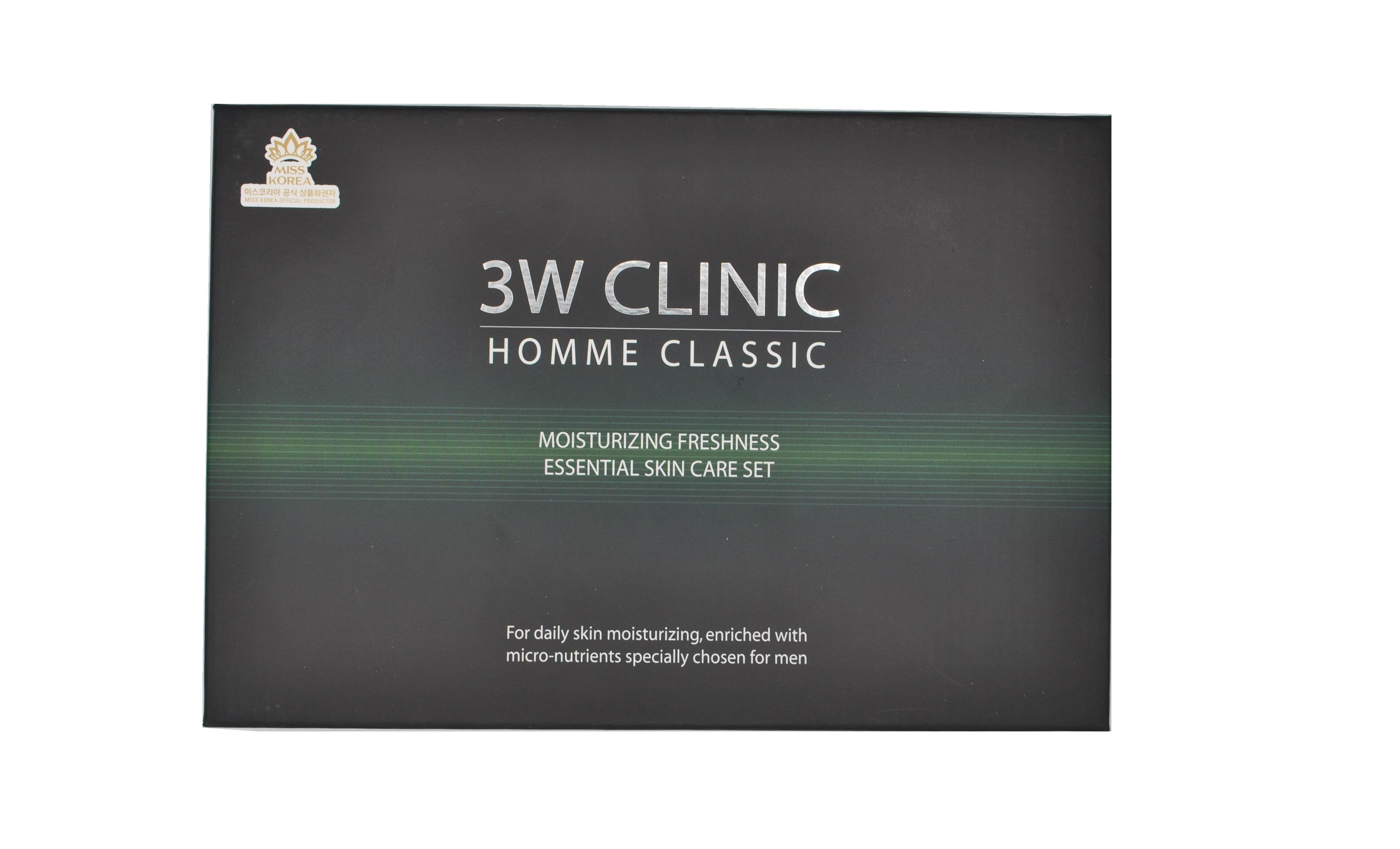 3W CLINIC Набор мужской (эссенция 150 мл, эмульсия 150 мл, эссенция мини 30 мл, эмульсия мини 30 мл) CLASSIC MOISTURIZING