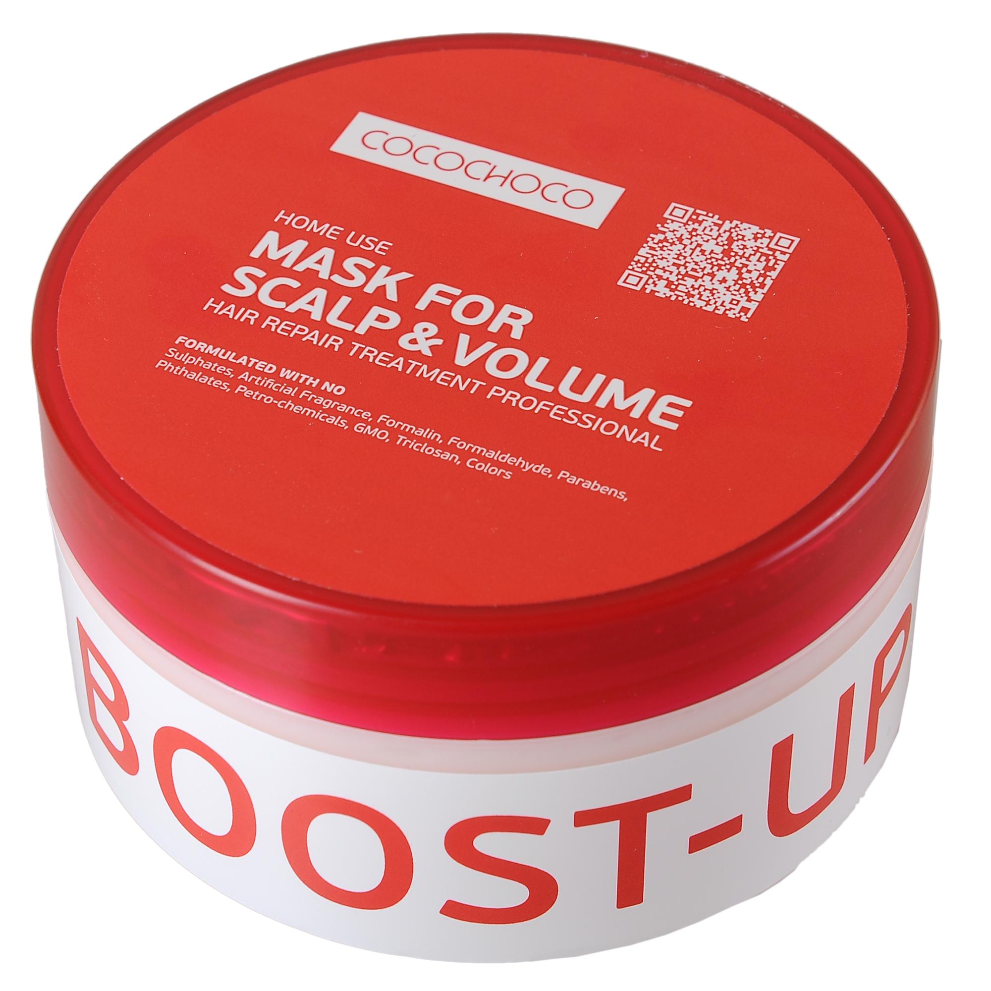 COCOCHOCO Маска для прикорневого объема / BOOST-UP 275 млМаски<br>Маска Boost-Up for Scalp &amp;amp; Volume для прикорневого объёма помогает решить проблемы тонких, лишённых объёма волос, не утяжеляя их. Кроме того, великолепно очищает кожу головы, склонной к жирности, позволяя нормализовать работу сальных желез, благодаря чему волосы намного дольше сохраняют свою чистоту и свежесть. Способ применения: равномерно нанести небольшое количество мягкими массажными движениями на влажные волосы. Оставить на 3-5 минут. Тщательно смыть тёплой водой. Применяется дважды в неделю, вместо кондиционера. Активные ингредиенты: смягчение (масла): аргана, олива. Питание (экстракты): сверция японская, лопух, овес, алоэ. Восстановление (аминокислоты): гиалуроновая кислота, альгинаты, пантенол D-5. Уплотнение (протеины): протеин пшеницы, натуральный кератин, протеин сои, молочный казеин. Текстура: силанетриол, феноксиэтанол, бензиловый спирт.<br><br>Объем: 275 мл