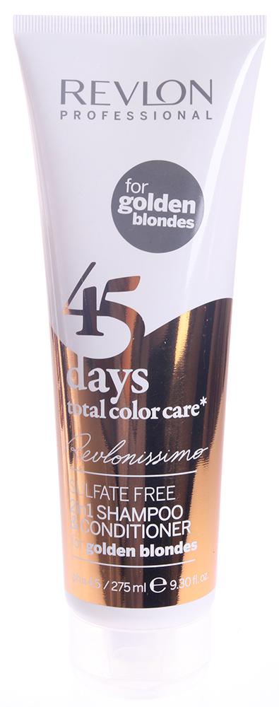 REVLON Шампунь-кондиционер тонирующий для золотистых блондированных оттенков/ REVLONISSIMO COLOR CARE 275млКондиционеры<br>Шампунь-кондиционер с очень нежной и мягкой текстурой, не содержащий сульфатов и гарантирующий полное сохранение цвета волос золотых оттенков блонд на целых 45 дней. Благодаря провитамину В5 и поликвартениуму-55 придает волосам потрясающую эластичность, отличный блеск и защищает от вредных воздействий ультрафиолетовых лучей. Экстракт клюквы, который является сильным природным антиоксидантом, обеспечивает восстановление структуры волос, благоприятное влияет на кожу головы и устраняет воздействие свободных радикалов. Великолепное средство очищения волос, ухода за ними и поддержания интенсивности цвета волос до следующей процедуры окрашивания. Подходит для ежедневного применения. Активные ингредиенты: поликвартениум-55 - пленкообразующий полимер, экстракт клюквы - мощный природный антиоксидант, провитамин В5. Способ применения: нанести на влажные волосы, помассировать до образования пены, после чего тщательно смыть теплой водой.<br><br>Тип: Шампунь-кондиционер<br>Цвет: Блонд<br>Вид средства для волос: Тонирующий<br>Типы волос: Окрашенные